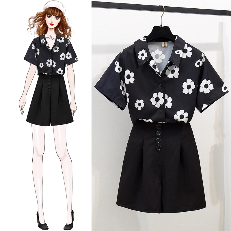 韓國女生穿搭時尚套裝花朵短袖襯衫+鬆緊腰短褲寬褲裙兩件式套裝