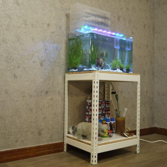 雪皓白魚缸櫃 長2尺x深1.5尺x高2.5尺 【空間特工】 2呎缸架 水族底櫃 展示架 收納架 飼料架 FTW21525