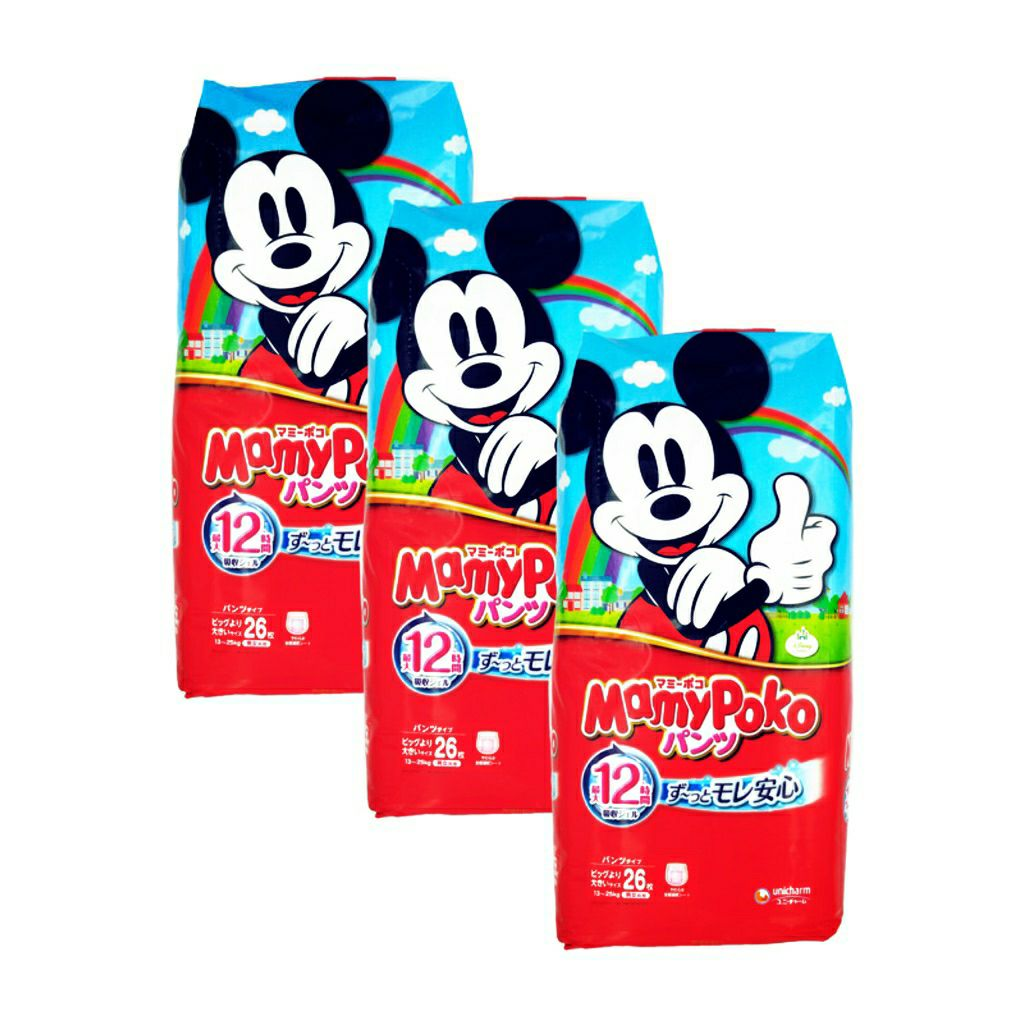 MamyPoko Disney Mickey Pants Size XXL 26 pcs × 3 packets Made in Japan   (UNISEX)