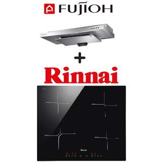 🚚 FUJIOH SLM900R SLIMLINE HOOD + RINNAI RB-6024H-CB 4-ZONE INDUCTION HOB