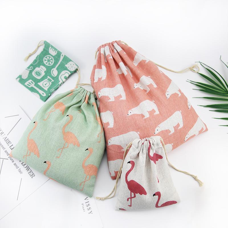 創意家居簡約便攜旅行棉麻布抽繩束口袋學生宿舍雜物內衣收納袋子