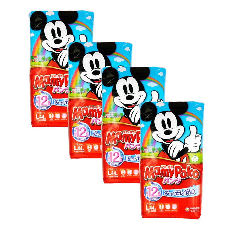 MamyPoko (Japan) Disney Mickey Pants - L (9 - 14kg) x 4packs