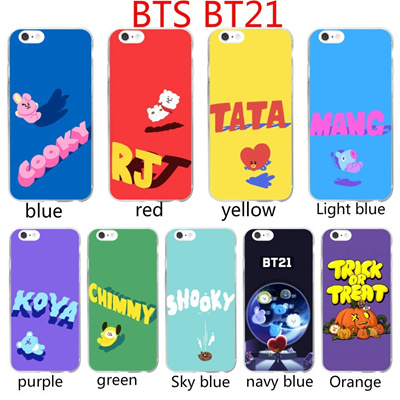 BTS BT21 Animated phone case Back Cover Simple Style for iPhone Case For iPhone 5 5S SE 6 6S 6 Plus
