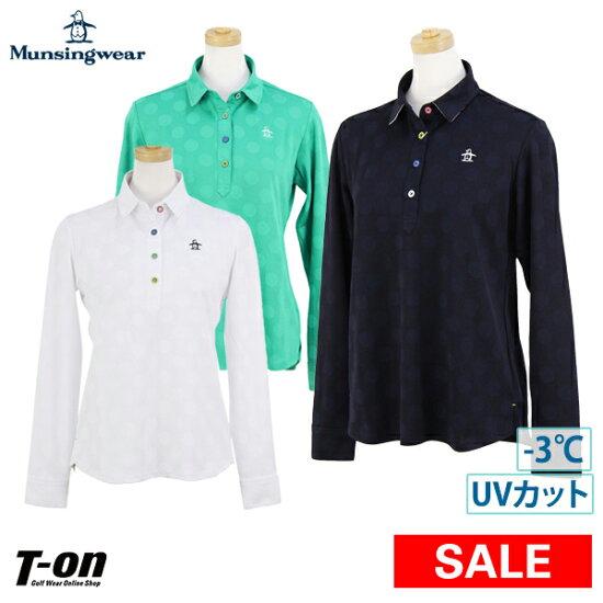 明星服裝Munsingwear女士開領短袖襯衫長袖子開領短袖襯衫M~3L企鵝提花機遮陽簾襯衫-3度標識刺綉2019春天夏天新作品高爾夫球服裝 t-on