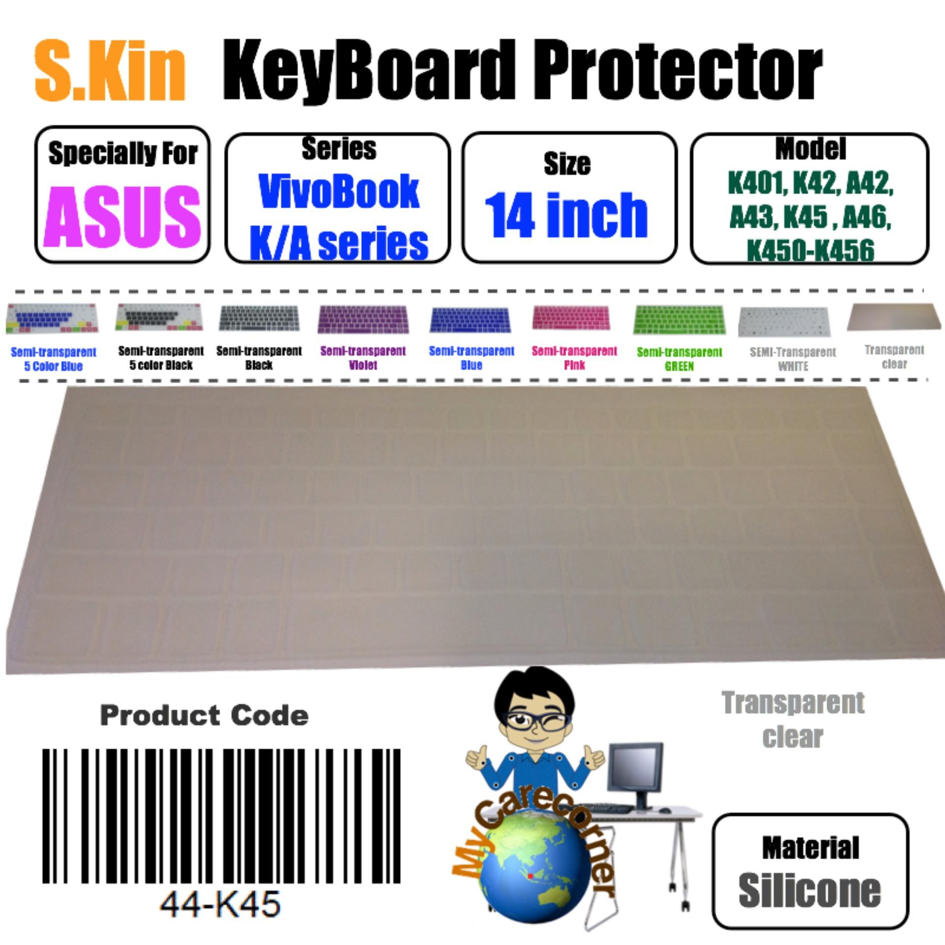 S.KIN 14 inch ASUS VivoBook K / A Series K401 K40 A42 K42 A43 K43 K45 K450 K451 K455 K456 K46 K48 14inch ASUS laptop Silicone Keyboard Cover  skin protector Membrane protective film ( 44-K45 ) local delivery