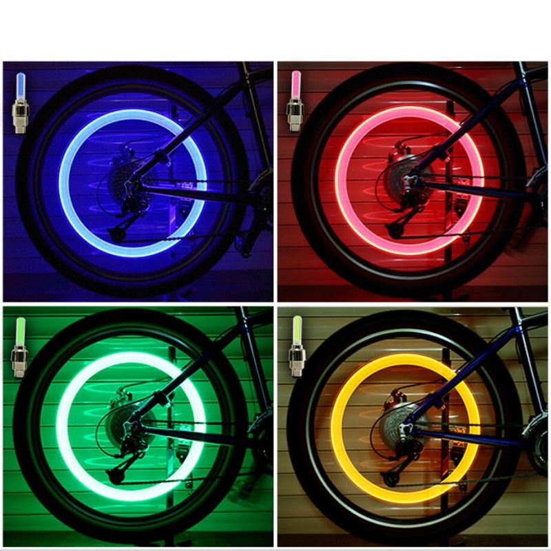 Bike Accessories Bicycle Light Colorful LED Bike light Car Tyre Cycling bycicle Wheel Valve Caps Spokes lights