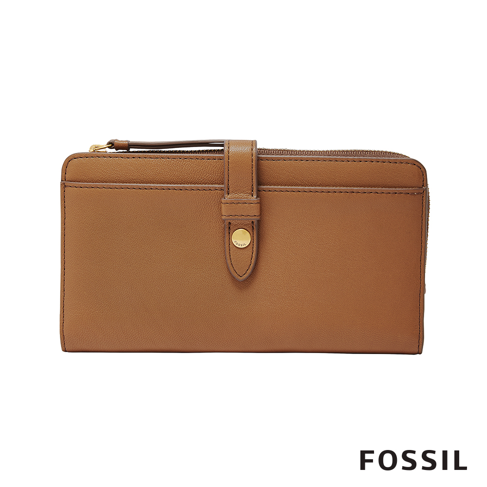 FOSSIL FIONA 金釦設計多功能零錢長夾-焦糖駝色