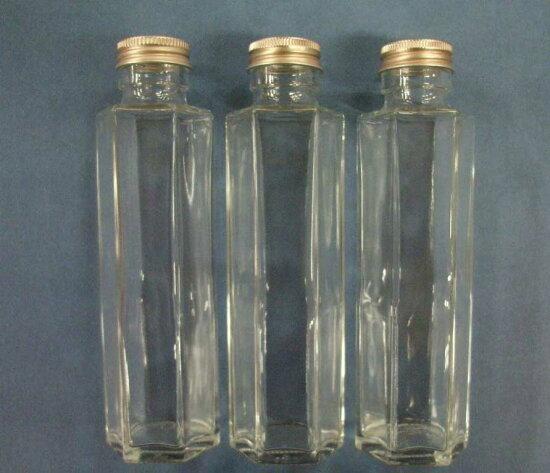 供她鋇使用的孔隙玻璃瓶六角桿型(附帶葱塞子)約容量150ml 3瓶一套ssf-150 Flower Life Saneicraft