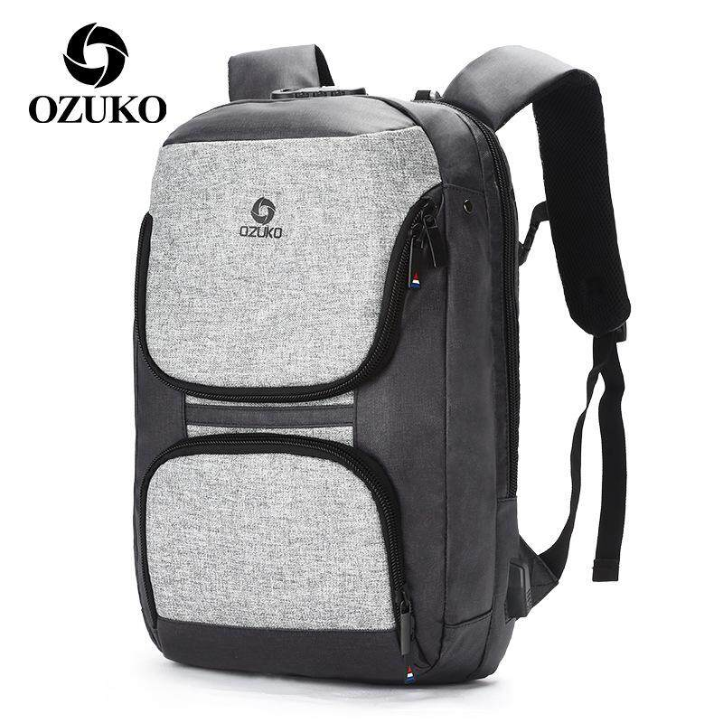 Ozuko Oxford Cloth Backpack Men's Business Casual Backpack Usb Computer Anti-theft Backpack