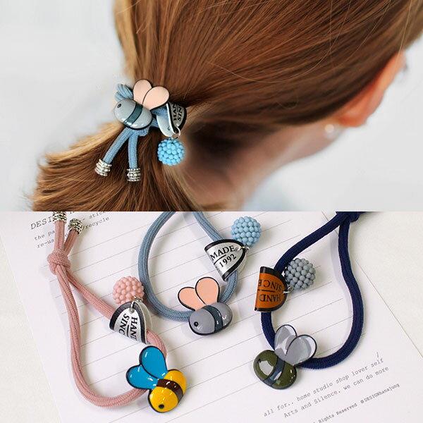 蜜蜂 髮圈 彈性繩 髮飾 髮帶 球球 可愛 彩色 韓國 ANNA S.