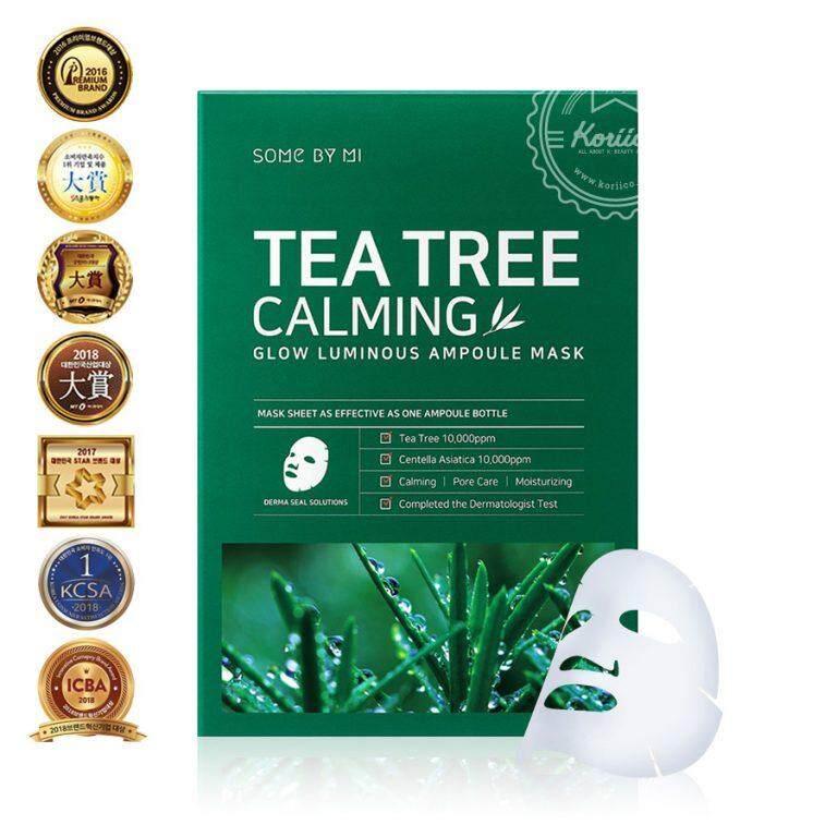SOME BY MI: แผ่นมาส์กหน้า Tea Tree Calming Glow Luminous Ampoule Mask (สูตรรักษาสิว)