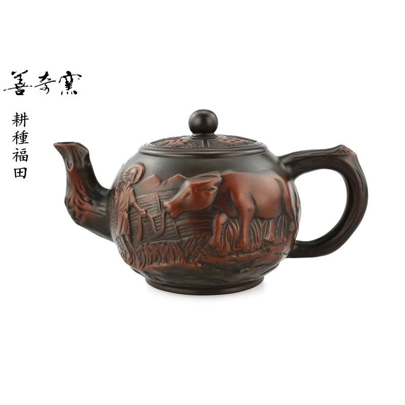 【善奇窯】 ~鶯歌茶壺~耕種福田茶壺/330ML/窯變