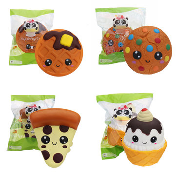 4PCS SquishyFun Desserts Squishies Package Cookie Waffle Pizza Ice Cream Slow Rising Squishy Toys