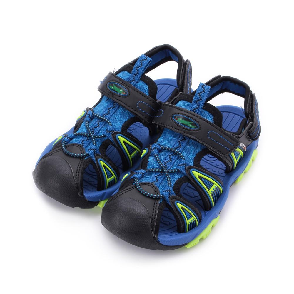 母子鱷魚 護趾魔鬼氈越野涼鞋 藍 大童鞋 鞋全家福