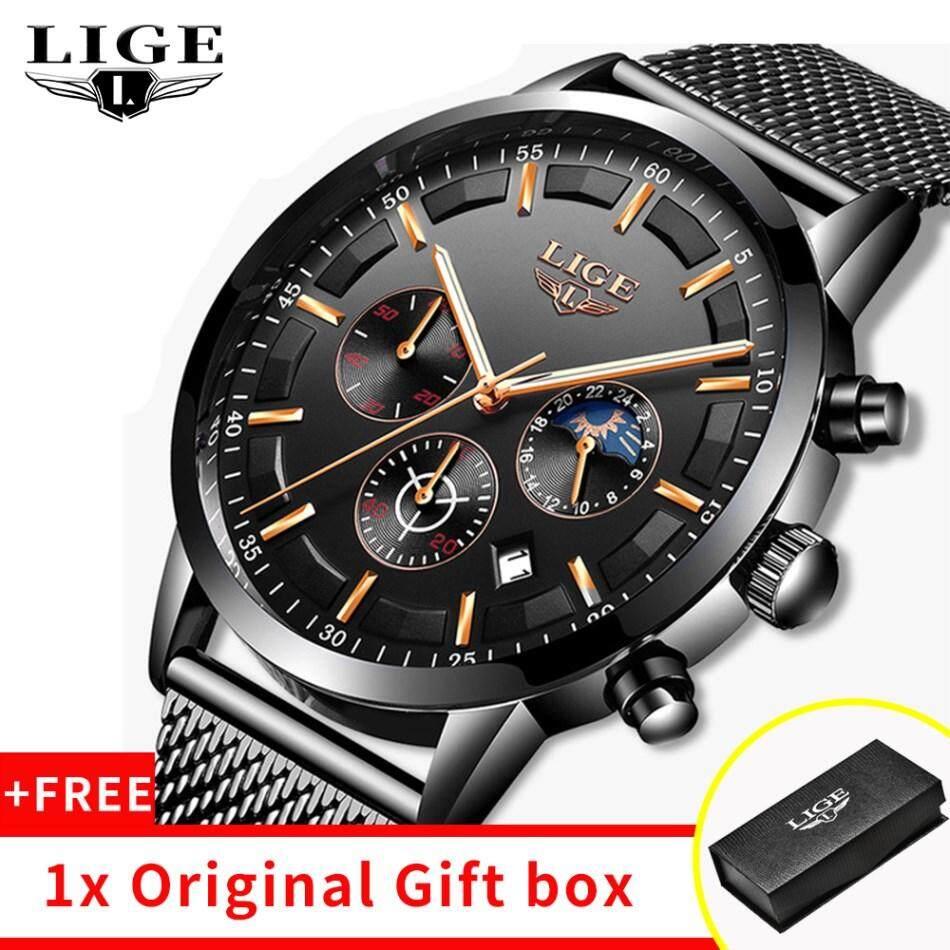LIGE นาฬิกาใหม่ผู้ชาย LIGE แฟชั่นกีฬา QUARTZ นาฬิกาสำหรับผู้ชาย TOP Luxury ยี่ห้อธุรกิจนาฬิกาข้อมือกันน้ำ