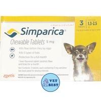 Simparica (สุนัข 1.3-2.5 กก) กำจัดเห็บ หมัด ขี้เรื้อน ไรหู (3เม็ด/กล่อง) EXP: 03/2020 +ส่ง KERRY+
