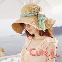【Cute ii Lady】拉菲草細鉤針渡假風大帽檐韓版沙灘草帽 防曬草編遮陽帽