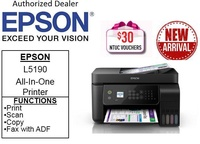 Epson L5190 Wi-Fi EcoTank All-In-One Printer (Print,Scan,Copy,Fax with ADF) ** Free $30 NTUC Vouchers  4th Mar 2019 ** L5190 5190