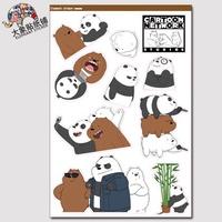 We Naked Bear We Bare Bears Sticker Trolley Sticker Notebook Personality Waterpr