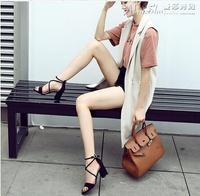 高跟涼鞋涼鞋女中跟高跟鞋夏季韓版百搭學生粗跟一字扣羅馬女鞋子 曼莎時尚