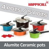[Happycall] Alumite Ceramic pot pan / 4pots / 5pots / Cook pot pan / happycall pot/ pot set / Ceramic Pot / Made in Korea