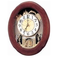 RHYTHM 日本麗聲 天空之城 彩虹城堡 面板舞動 音樂鐘 掛鐘-41.5X52.4cm