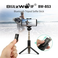 BlitzWolf 3 in 1 Bluetooth 3.0 Selfie Stick Tripod Mini Pocket Extendable Monopod with Remote 360  R