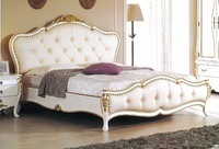 【尚品傢俱】JF-003-1 艾麗絲6尺法式白色金邊雙人床(不含床墊)