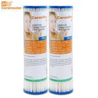 Coronwater 2.5&quot  x 10&quot  Pleated Polyester Water Filter Cartrige 5 micron High Flow Sediment