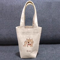 柴犬-捏臉---台灣製棉麻布-文創柴犬-環保-飲料提袋-蒼蠅星球