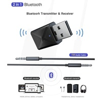 Jnan Bluetooth Adapter USB 2-in-1 for PC Laptop Computer Wireless Mouse Bluetooth Speaker 5.0 Music Receiver USB Bluetooth Adapter