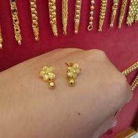 ต่างหูทองแท้ 96.5%  ดอกไม้ห้อยเม็ดประคำ หนัก 1สลึง ราคา 6,400บาท