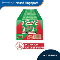 (48 Packets/2 Cartons) MILO UHT 50% Less Sugar Chocolate Malted Milk 48x200ml