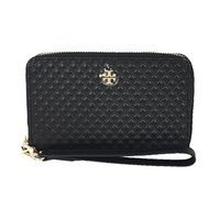 Tory Burch Marion Leather iPhone 8 / 7 / 6 Wristlet Wallet, Black