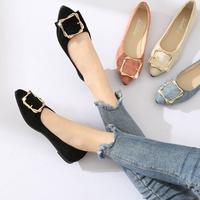 單鞋女新款韓版黑色尖頭平底鞋低跟瓢鞋百搭淺口淑女鞋子 享購