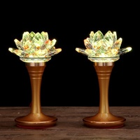Buddhist supplies Crystal lotus lamp Buddha lamp for a pair of LED Buddha front seven-color light