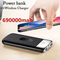 690000mah Power Bank External Battery Bank Built-in Wireless Charger Powerbank Portable QI Wireless