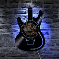 Musical Guitar Vinyl Led Wall Clock Color Change Decorative Home Vintage Gift