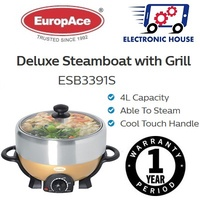 ★ Europace ESB3391S Deluxe Steamboat with Grill 4L ★ (1 Year Singapore Warranty)