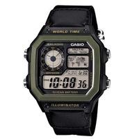 【CASIO】卡西歐 10年電力防水電子錶  帆布錶帶 軍事風錶款 AE-1200WHB 台灣卡西歐保固一年