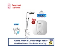 Rubine AR15A 15 Litres Storage Water Heater With Rain Shower Set And Rubine Mixer Tap