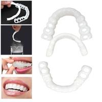 2 ชิ้น/เซ็ตซิลิโคนจำลองที่ครอบฟันความงามเครื่องสำอางค์ SMILE ฟันปลอม Instant Perfect สบายบนและล่างที่ครอบฟัน