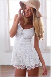 時尚女裝新款休閒褲白色細肩帶圓領低胸蕾絲花邊可愛少女款後拉鍊連身褲6965