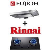 FUJIOH SLM900R SLIMLINE HOOD + RINNAI RB-72G 2 BURNER BUILT-IN GLASS HOB
