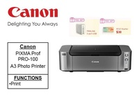 Canon Pixma Pro-100 A3+ Professional Photo Printer ** Free Prolink 5-Port USB and $30 NTUC Voucher Till 24th Feb 2019 ** Pro100