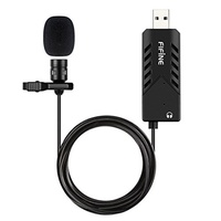 USB Lavalier Lapel Microphone,FIFINE Clip-on Cardioid Condenser Computer mic plug and play USB Micro