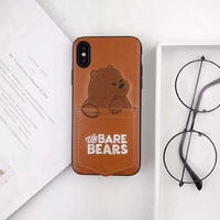 We Bare Bears TPU Pocket iPhone Case 7 8 Leather Cover