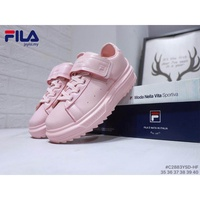 Original FILA leather sneakers Women fashion buckle shoes Platform shoes pink