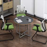 【源森木格 !特價中】loft工業風小型圓桌會議洽談接待桌現代簡約辦公桌椅組合工業風