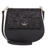 Kate Spade Cameron Street Byrdie Glitter Saffiano leather crossbody bag ( Black )